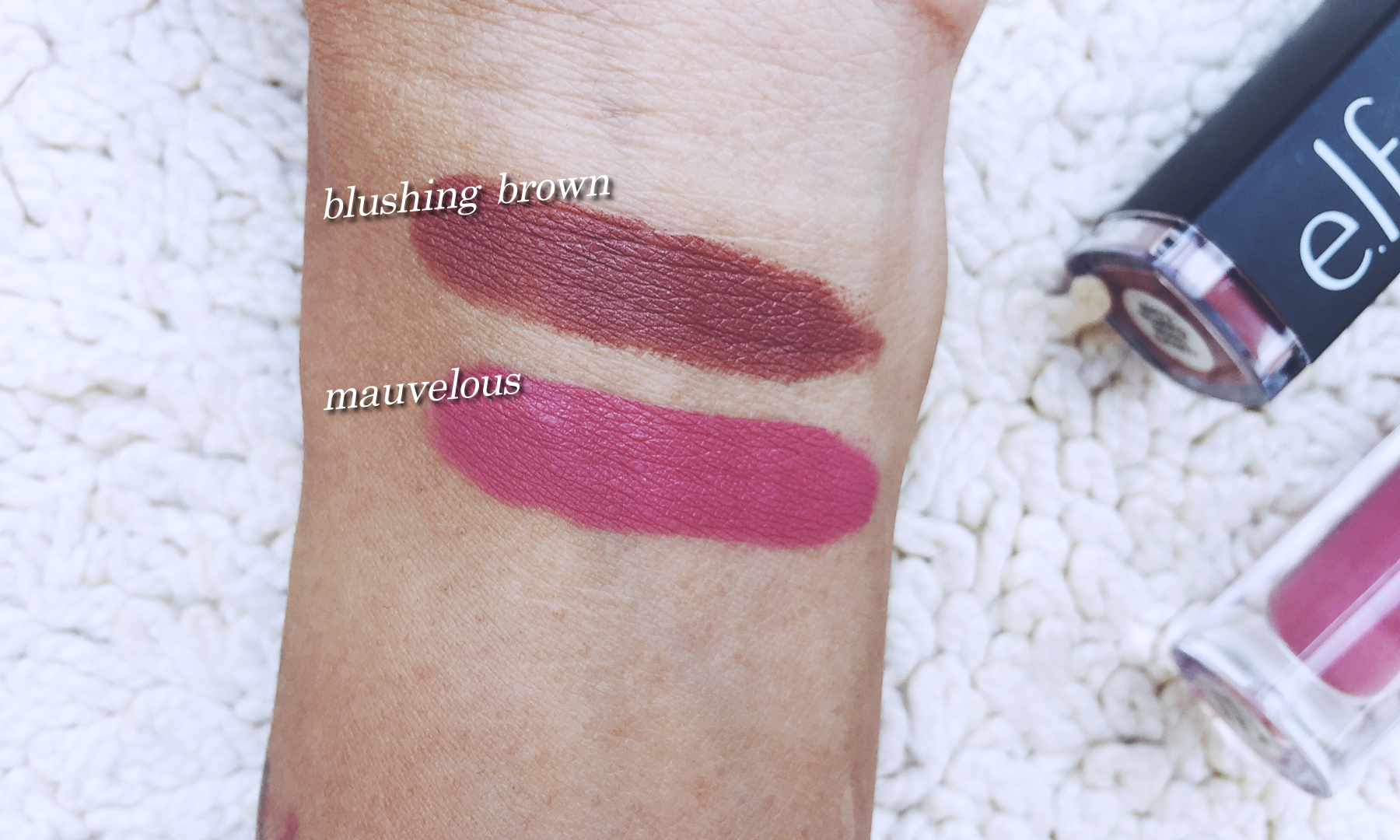 3 full swipes for Blushing Brown and a layer and a half for Mauvelous.
